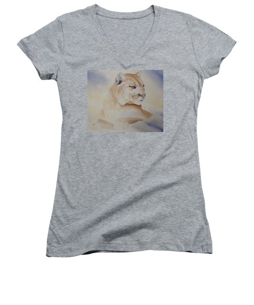 Women's V-Neck T-Shirt (Junior Cut) featuring the painting Cougar On Watch by Richard Faulkner