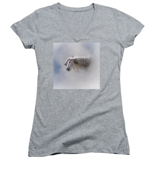 Women's V-Neck featuring the photograph Counting by Heiko Koehrer-Wagner
