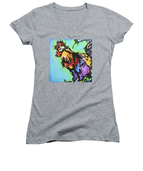 Women's V-Neck T-Shirt (Junior Cut) featuring the painting Country Blues by Nicole Gaitan