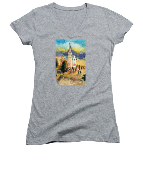 Women's V-Neck T-Shirt (Junior Cut) featuring the painting Country Church At Sunset by Kathy Braud