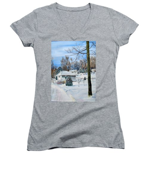 Country Club In Winter Women's V-Neck T-Shirt (Junior Cut) by Christine Lathrop