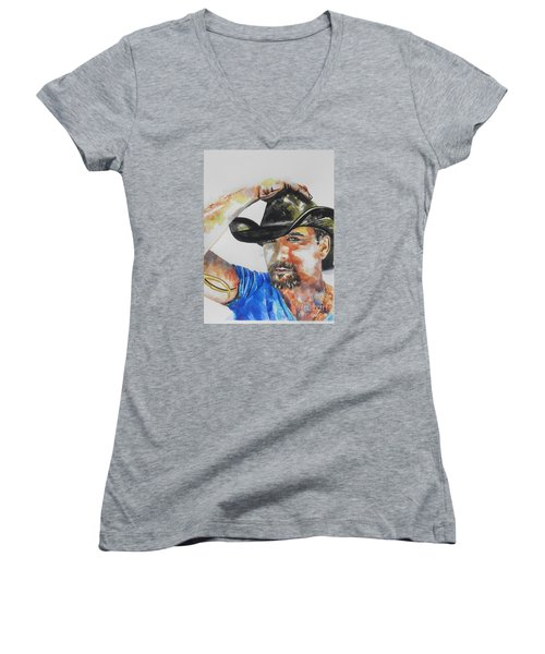 Country Singer Tim Mcgraw 02 Women's V-Neck (Athletic Fit)
