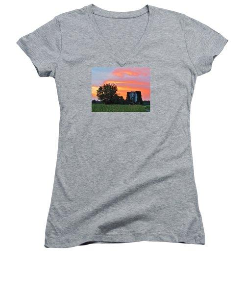 Country Sky Women's V-Neck T-Shirt (Junior Cut) by Cynthia Guinn