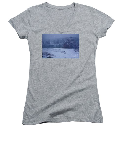 Country Snowstorm Landscape Art Prints Women's V-Neck T-Shirt (Junior Cut) by Valerie Garner