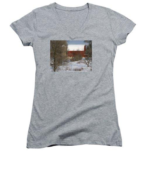 Women's V-Neck T-Shirt (Junior Cut) featuring the photograph Country Winter by Ann Horn
