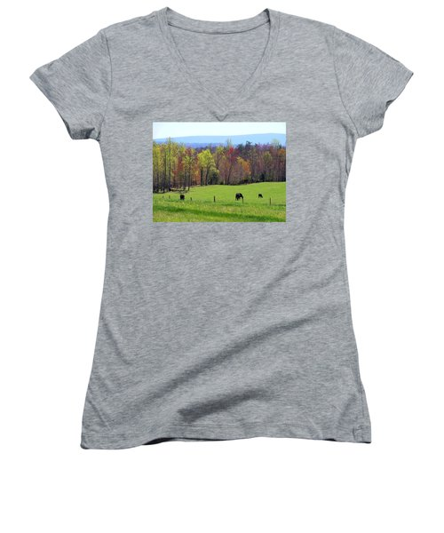 Women's V-Neck T-Shirt (Junior Cut) featuring the photograph Countryside In Spring by Kathryn Meyer