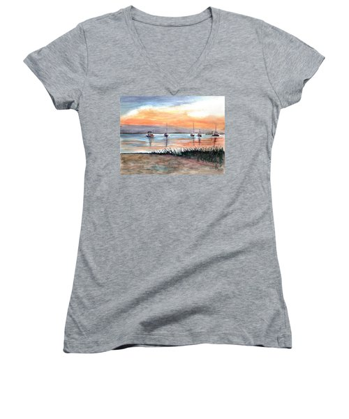 Cove Sunrise Women's V-Neck T-Shirt (Junior Cut)