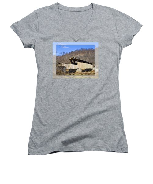 Covered Bridge In Pa. Women's V-Neck T-Shirt (Junior Cut)