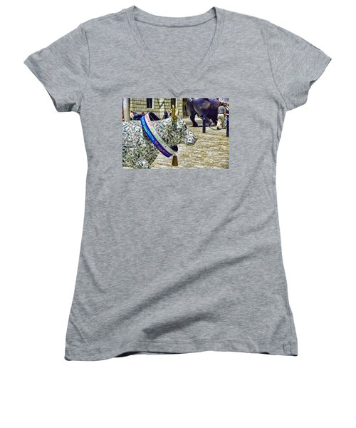 Cow Parade N Y C  2000 - Live Stock Cow Women's V-Neck