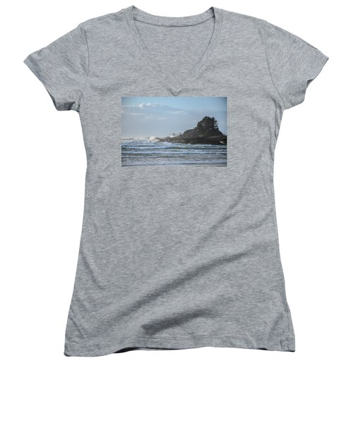 Cox Bay Afternoon Waves Women's V-Neck T-Shirt (Junior Cut) by Roxy Hurtubise