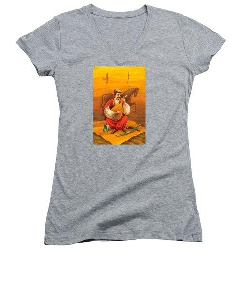 Cossack Mamay Women's V-Neck T-Shirt (Junior Cut) by Oleg Zavarzin