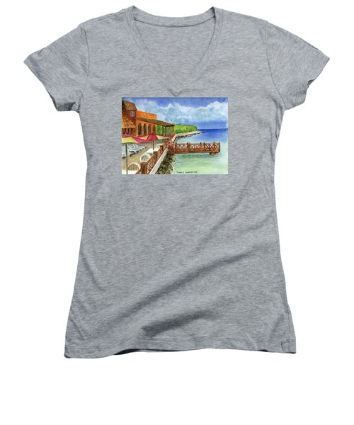 Cozumel Mexico Little Pier Women's V-Neck