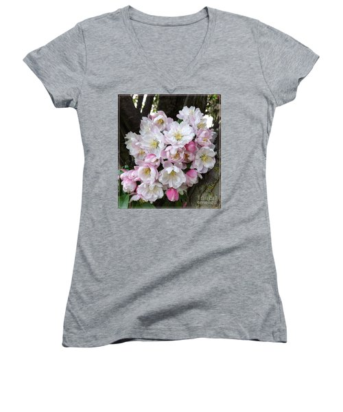 Crab Apple Blossoms Women's V-Neck (Athletic Fit)