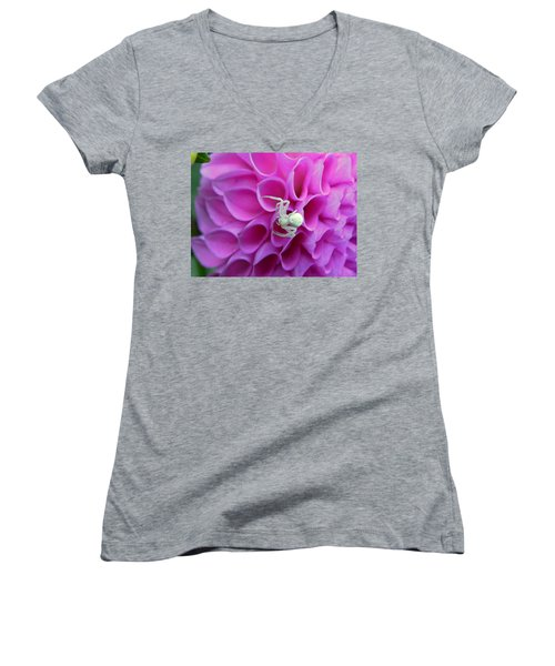 Crab Spider And Dahlia Women's V-Neck (Athletic Fit)