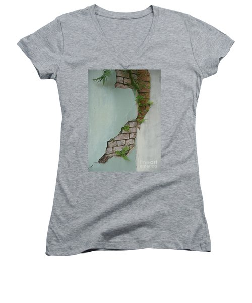 Women's V-Neck T-Shirt (Junior Cut) featuring the photograph Cracked by Valerie Reeves