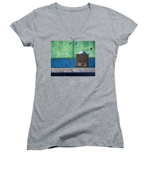 Women's V-Neck T-Shirt (Junior Cut) featuring the painting Crafting Creation by A  Robert Malcom