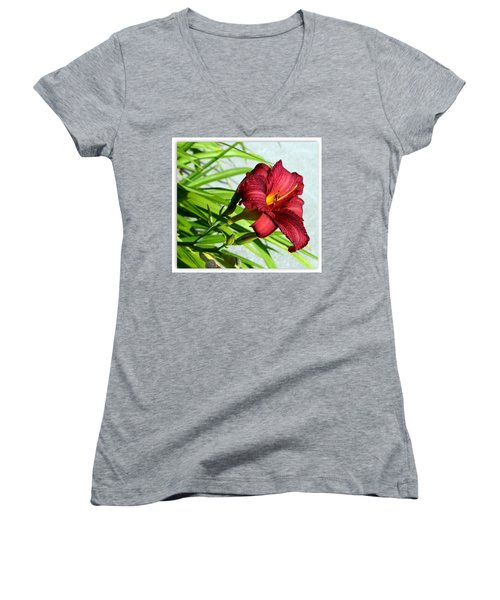 Cranberry Colored Lily Women's V-Neck T-Shirt