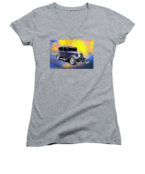 Women's V-Neck T-Shirt (Junior Cut) featuring the mixed media Crank It  by Aaron Berg