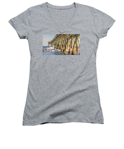 Women's V-Neck T-Shirt (Junior Cut) featuring the photograph Crash by Rob Sellers