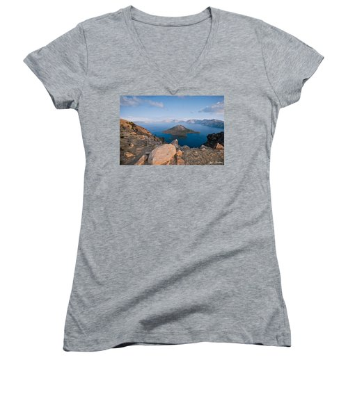 Crater Lake In The Evening Women's V-Neck