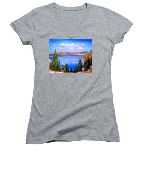 Crater Lake Oregon Women's V-Neck T-Shirt (Junior Cut) by Patrice Torrillo