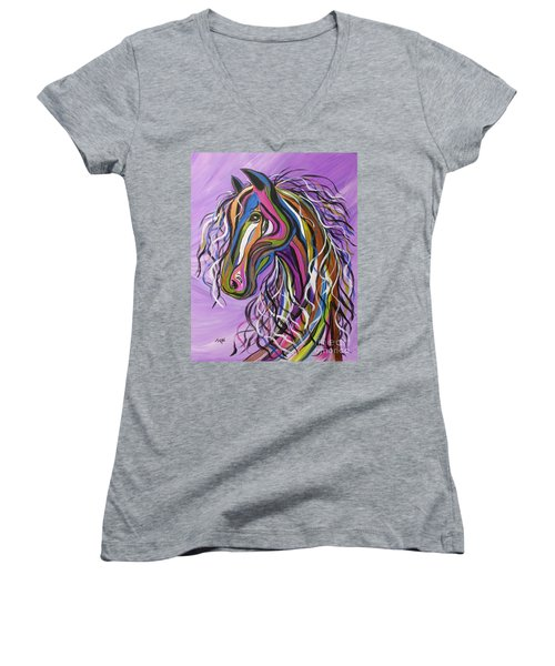 Women's V-Neck T-Shirt (Junior Cut) featuring the painting Crazy Horse by Janice Rae Pariza