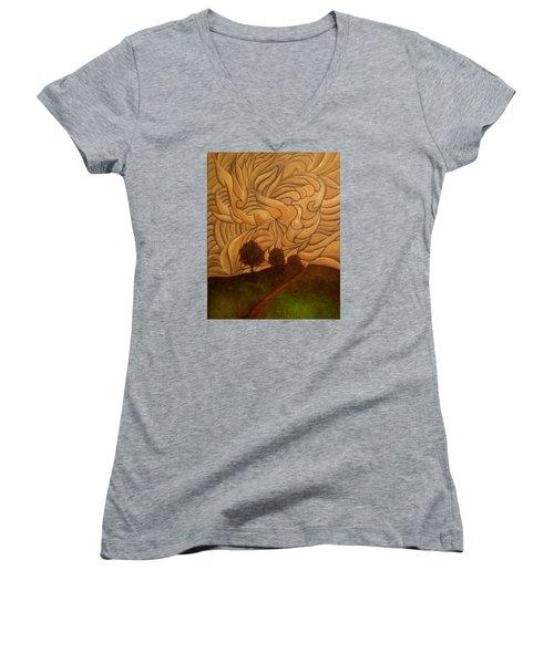 Crazy Sky Women's V-Neck T-Shirt (Junior Cut) by John Stuart Webbstock