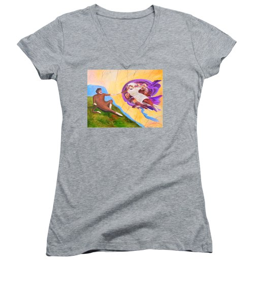 Creation Of A Sock Monkey Women's V-Neck