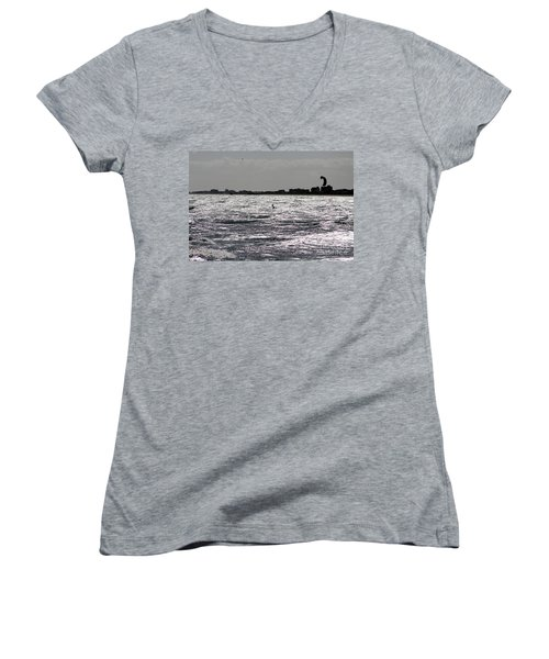 Creative Surfing Women's V-Neck T-Shirt (Junior Cut) by Chris Thomas