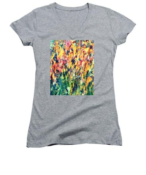 Crescendo Of Spring Abstract Women's V-Neck