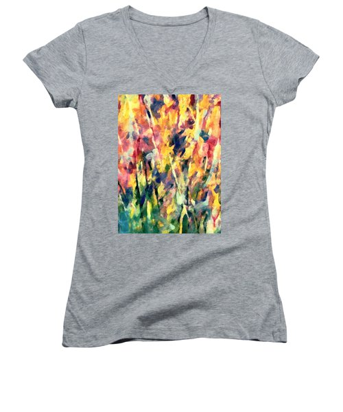 Crescendo Of Spring Abstract Women's V-Neck (Athletic Fit)