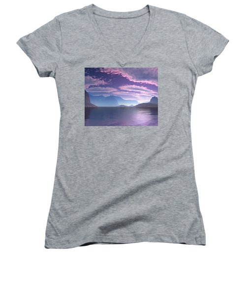 Crescent Bay Alien Landscape Women's V-Neck