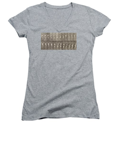 Cricketer Women's V-Neck T-Shirt (Junior Cut) by Eadweard Muybridge