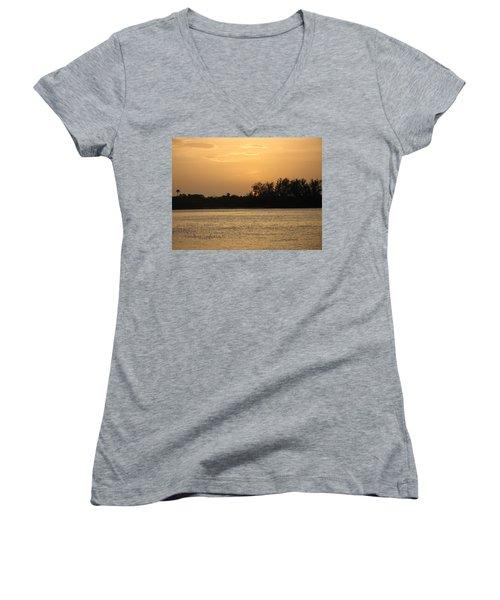 Women's V-Neck T-Shirt (Junior Cut) featuring the photograph Crocodile Eye by Kathy Barney