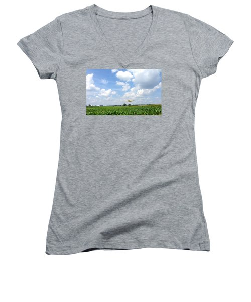 Women's V-Neck T-Shirt featuring the photograph Yellow Crop Duster by Charles Kraus
