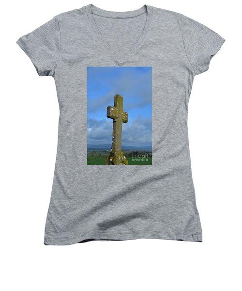 Cross At Cashel Women's V-Neck T-Shirt (Junior Cut) by DejaVu Designs