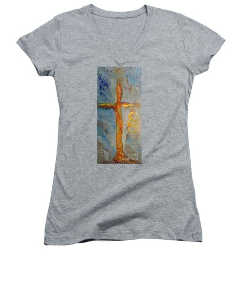 Cross Of Endless Love Women's V-Neck T-Shirt (Junior Cut) by Ella Kaye Dickey