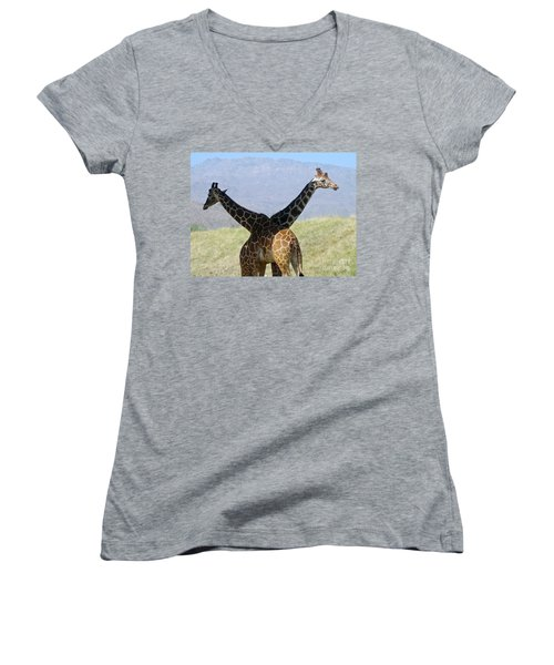 Crossed Giraffes Women's V-Neck T-Shirt (Junior Cut) by Phyllis Kaltenbach