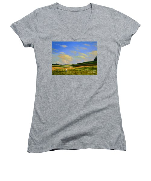 Crossing The Field Women's V-Neck