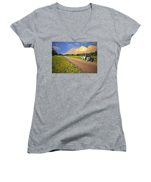 Crusin' The Hill Country In Spring Women's V-Neck