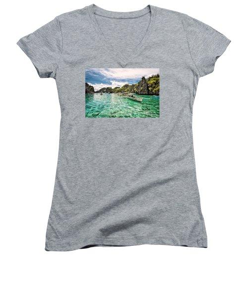 Crystal Water Fun Land Women's V-Neck T-Shirt (Junior Cut) by John Swartz