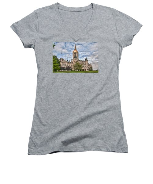 Ct State Capitol Building Women's V-Neck (Athletic Fit)