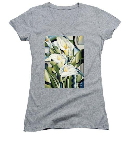 Cubist Lilies Women's V-Neck