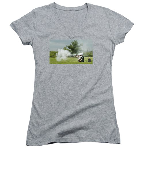Women's V-Neck T-Shirt (Junior Cut) featuring the photograph Culloden Jacobites by Carol Lynn Coronios