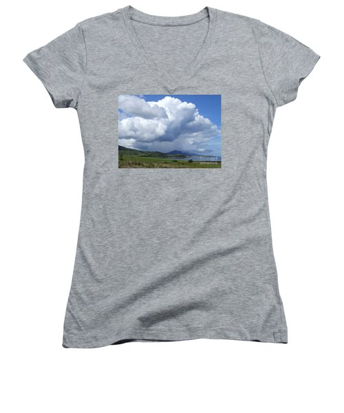 Women's V-Neck T-Shirt (Junior Cut) featuring the photograph Cumulus Clouds - Isle Of Skye by Phil Banks