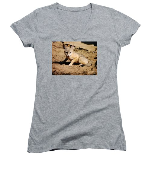 Curious Kit Fox Women's V-Neck (Athletic Fit)