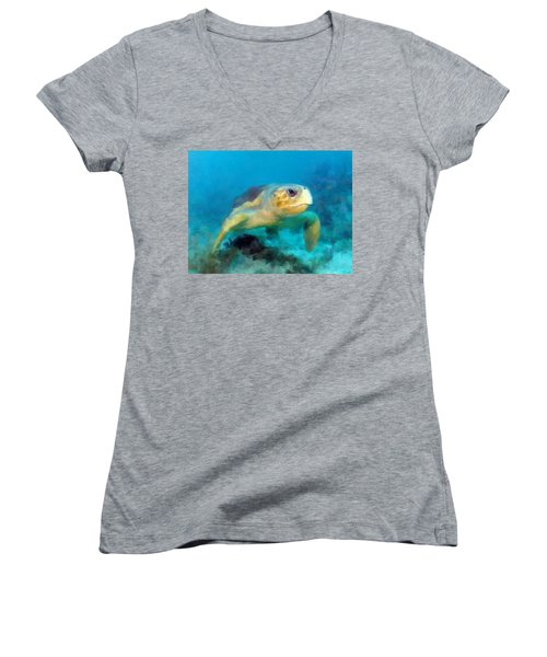 Curious Sea Turtle Women's V-Neck T-Shirt (Junior Cut) by David  Van Hulst
