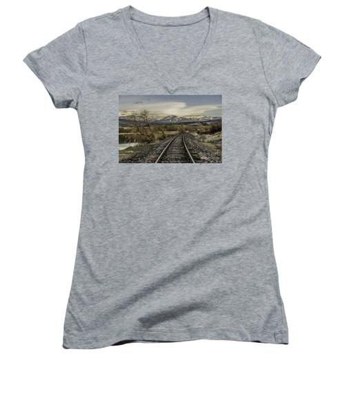 Curve In The Tracks Women's V-Neck