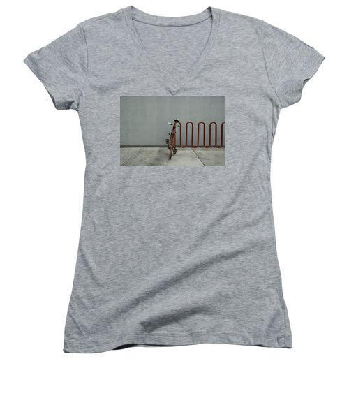 Women's V-Neck T-Shirt (Junior Cut) featuring the photograph Curved Rack In Red - Urban Parking Stalls by Steven Milner