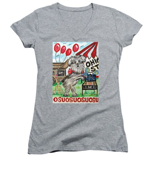 Women's V-Neck T-Shirt (Junior Cut) featuring the painting Osu Tailgating Dog by Diane Pape